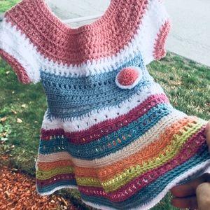 Other - Handmade Crochet Baby Girl Flower Dress